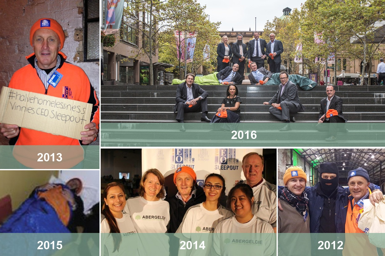 Mick Boyle participating in the CEO Sleepout throughout the years
