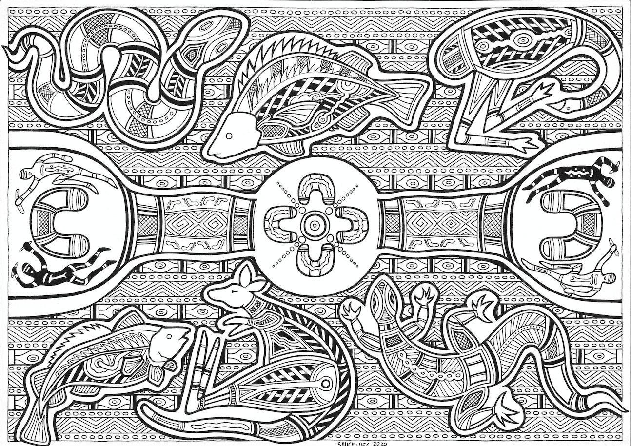 Wiradjuri artwork in black and white ink