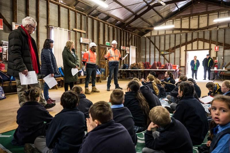 Hay School children listening to Abergeeldie presentation