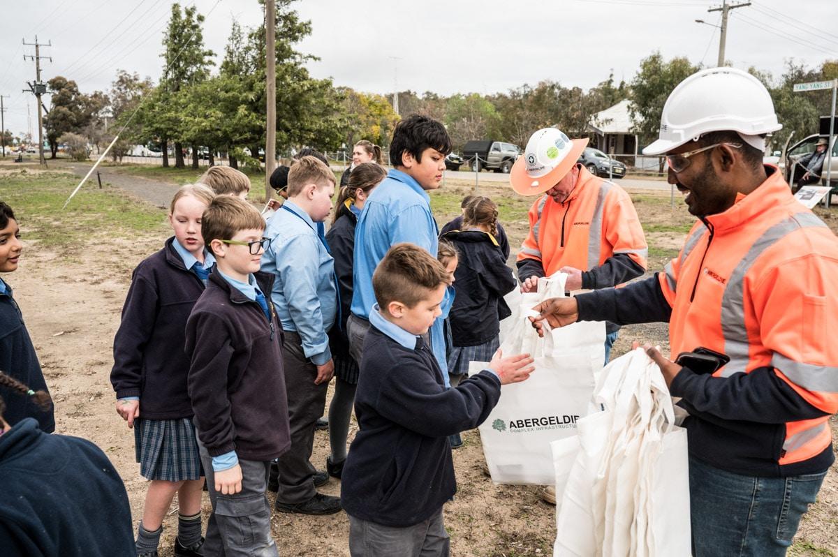 Rod and Balwanth handing the school children Abergeldie gifts